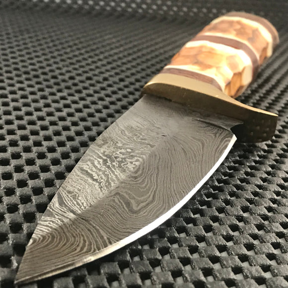 "9"" Burnt Bone Hunter Damascus Skinning Knife DM-1254"