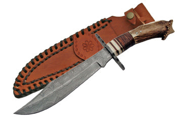 Real Damascus Steel Bowie Knife - Frontier Blades
