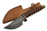 "9.25"" Wire Wrap Wooden Damascus Skinner Knife - Frontier Blades"