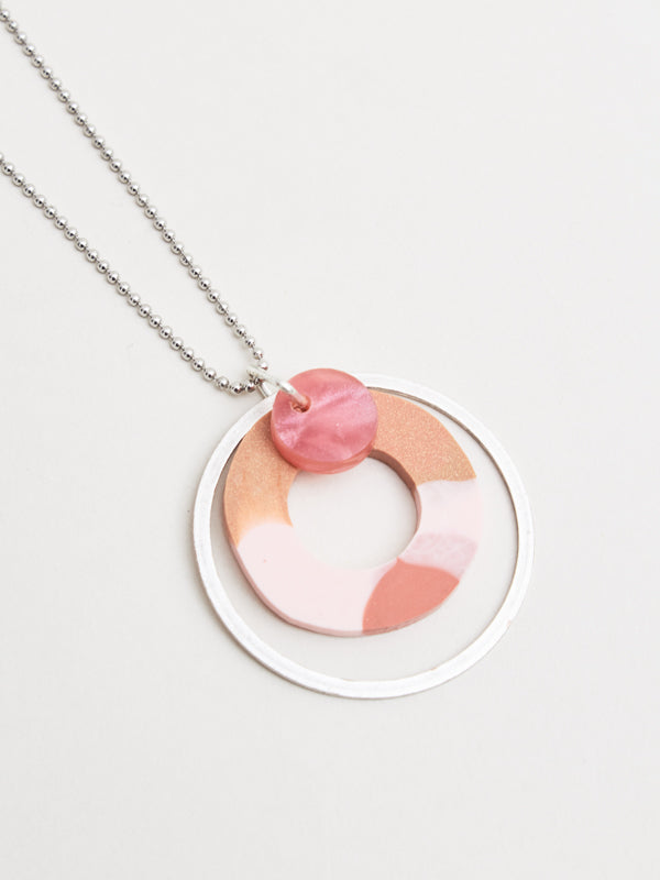 Martha Necklace Silver/Pink