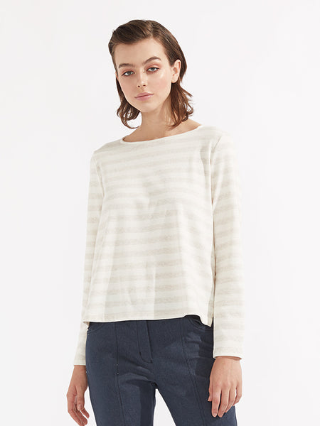 Seville knit oatmeal stripe