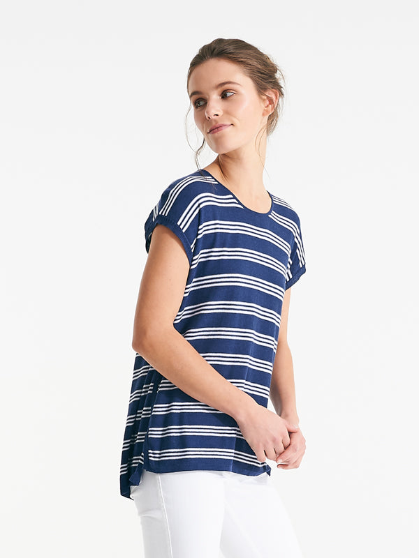 Addington Knit blue fog stripe