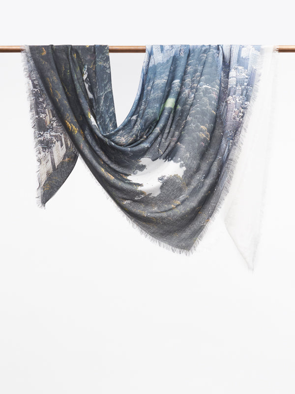 New York scarf chalk/slate