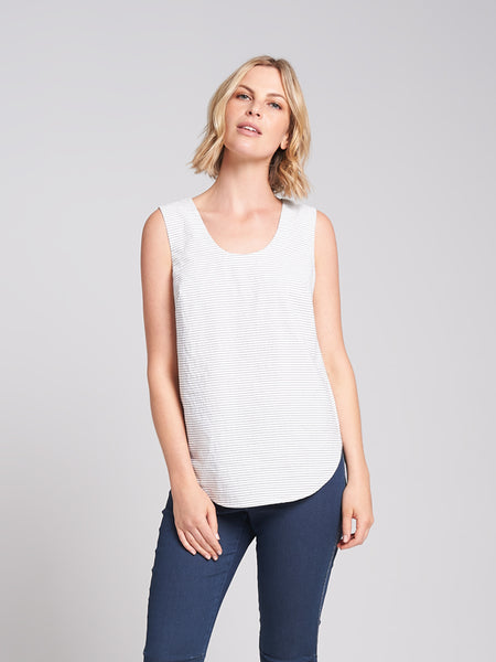 Scoop Tank Silver Stripe