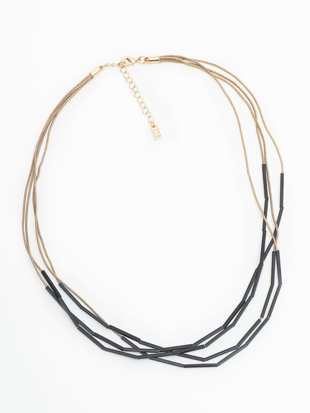 Picket necklace black/gold