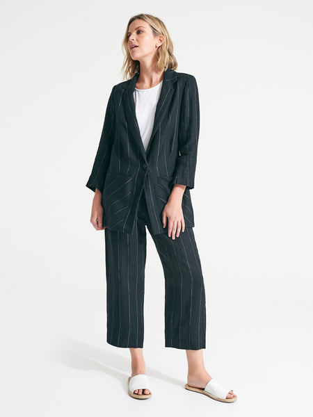 isla pants black pinstripe