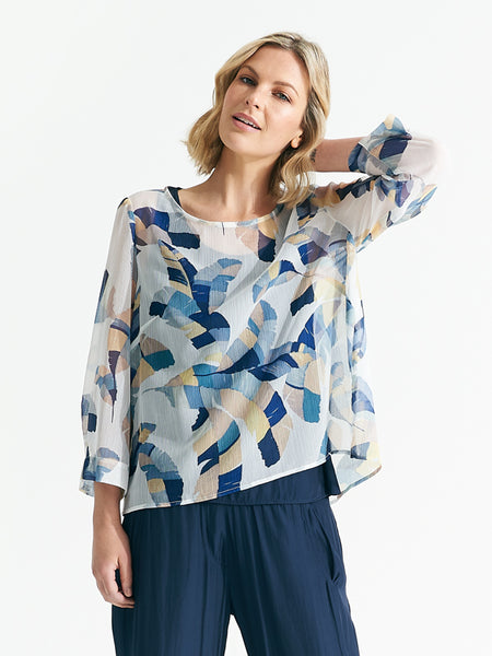 Tasanee Top Feathered Print