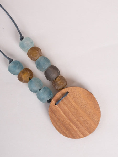 Asa Necklace Blue/Wood