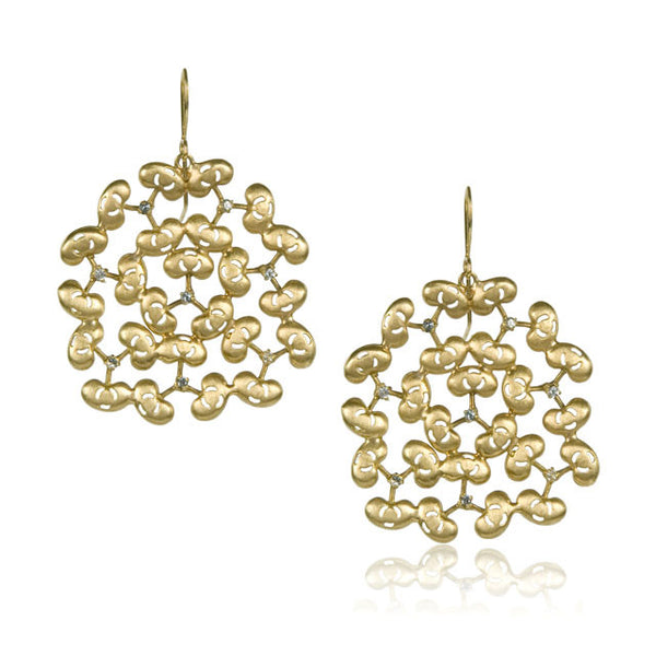 Bean Earrings, Yellow Gold
