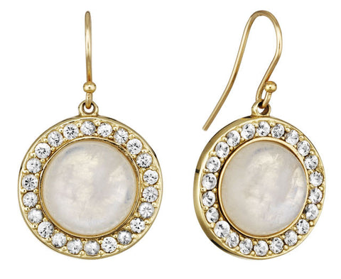 Moonstone & White Sapphire Earrings