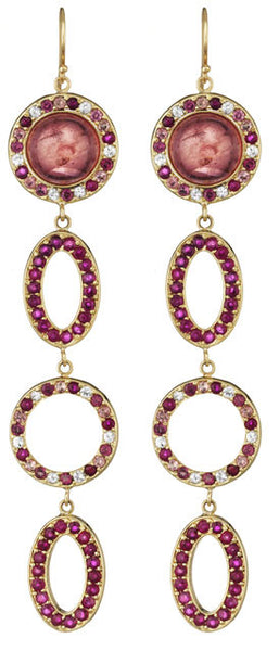 Pink Tourmaline & Sapphire Earrings