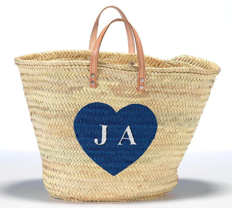 Personalized Straw Beach Bag, Blue Heart