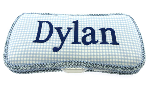 Personalized Baby Wipe Case, Blue Gingham & Navy (Travel Size)