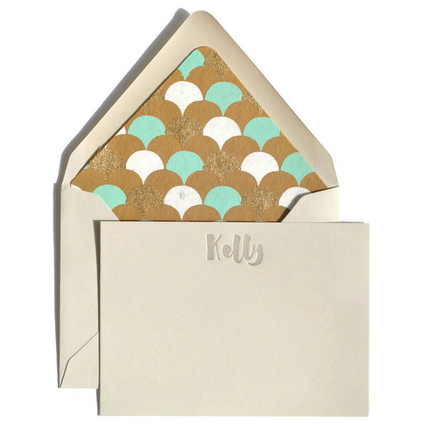 Letterpress Notecards & Envelopes: Mint & Gold