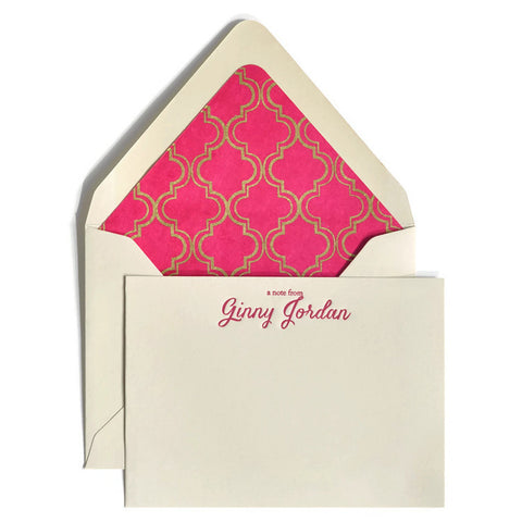 Letterpress Notecards & Envelopes: Magenta & Gold