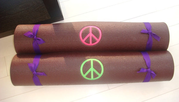 Peace Symbol Embroidered Yoga Mats