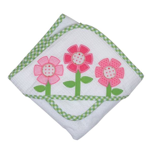 Flower Pique Hooded Towel & Washcloth Set