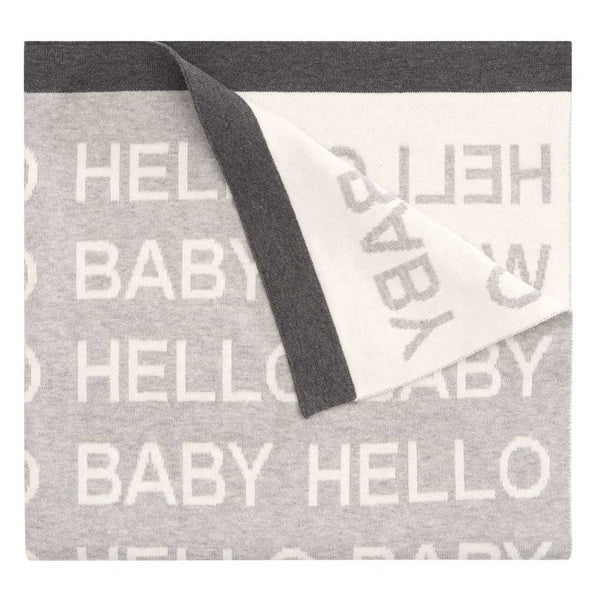 """Hello World"" Jacquard Knit Blanket"