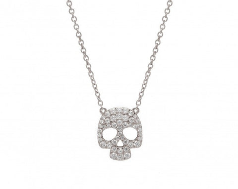 Skull Necklace, Rhodium Plated & Crystal