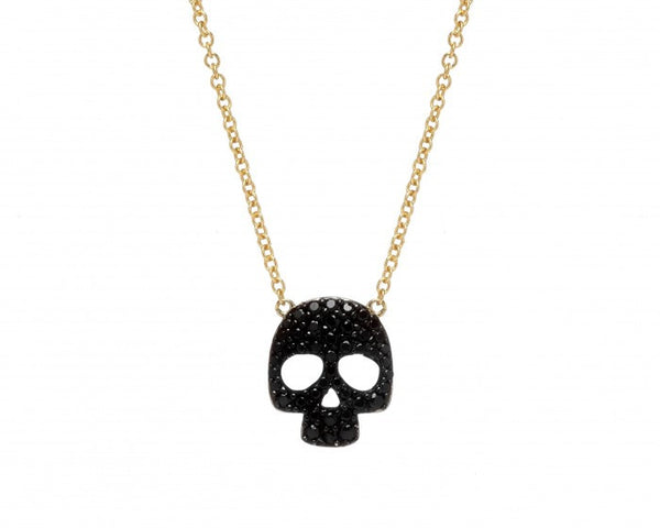 Skull Necklace, Gold-Plated & Black Spinal