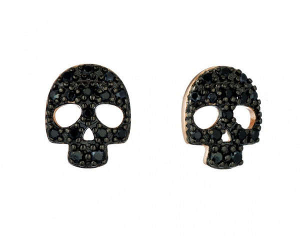 Skull Studs, Gold-Plated & Black Spinal