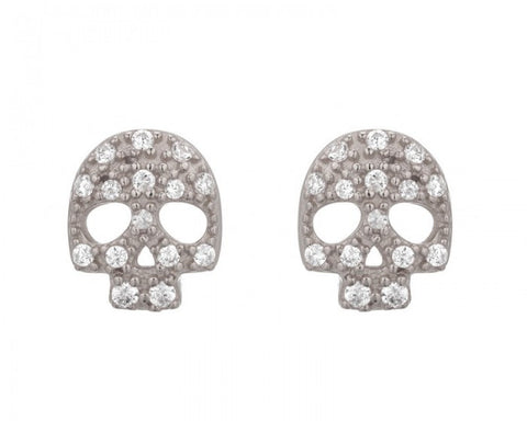 Skull Studs, Rhodium Plated & Crystal