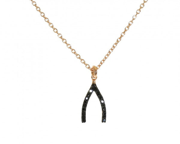 Wishbone Necklace, Gold-Plated & Black Spinal