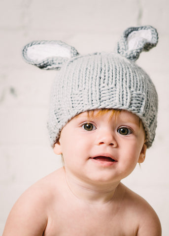 """Bailey"" Bunny Hat, Gray/White"