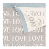 """Love"" Jacquard Knit Blanket, Blue"