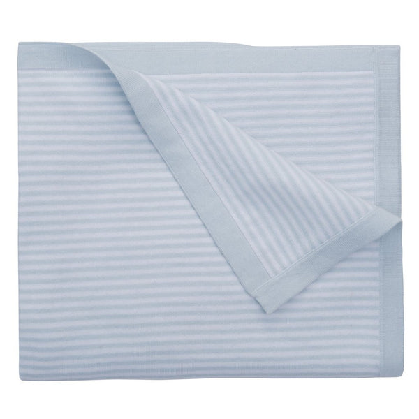 Mini Stripe Knit Blanket, Blue