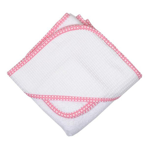 Pink Dot Pique Hooded Towel & Washcloth Set