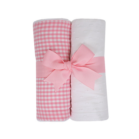 Pink Elephant Burp Pads (Set of 2)
