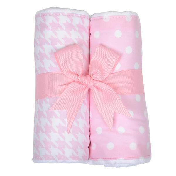 Pink Houndstooth Burp Pads (Set of 2)