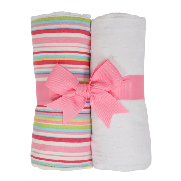 Pink Stripe Burp Pads (Set of 2)