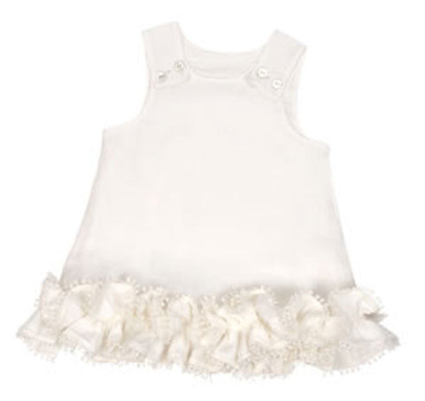Linen Pom Pom Dress with Diaper Cover