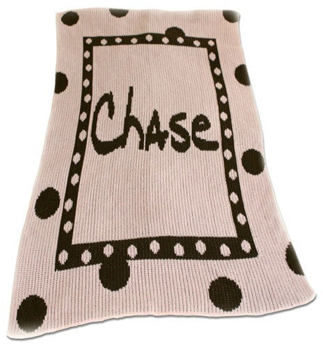 Large Polka Dot & Name Personalized Blanket