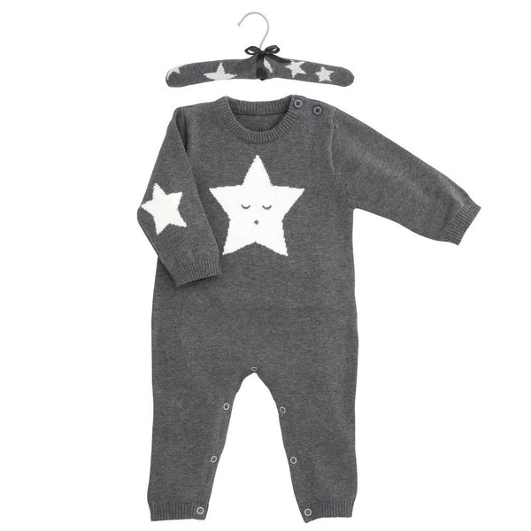 Charcoal Star Knit Jumpsuit (6M)