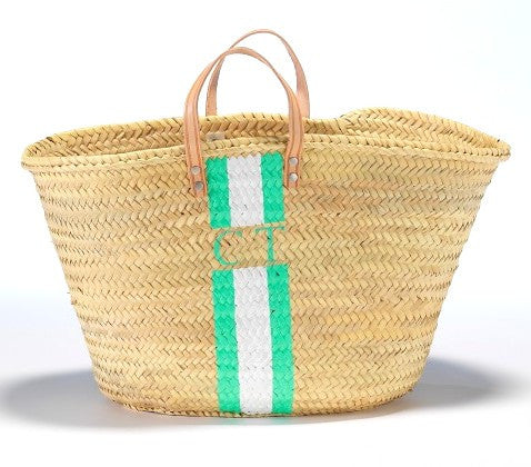 Personalized Straw Beach Bag, Mint & White