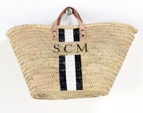 Personalized Straw Beach Bag, Black & White