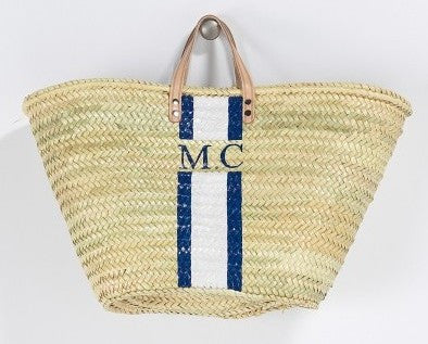 Personalized Straw Beach Bag, Navy & White