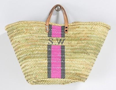 Personalized Straw Beach Bag, Pink & Gray