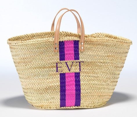 Personalized Straw Beach Bag, Pink & Purple
