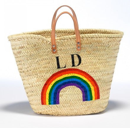 Personalized Straw Beach Bag, Rainbow