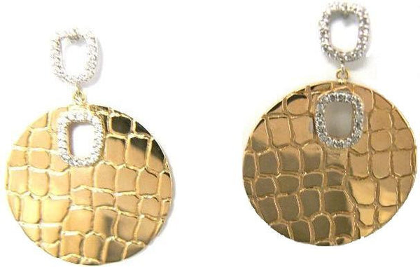 """Crocodile"" & Diamond Disk Earrings, Yellow Gold"
