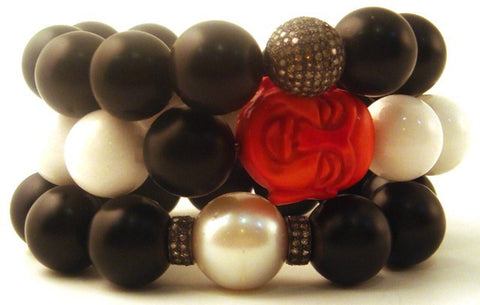 Diamond & South Sea Pearl Onyx Bracelets