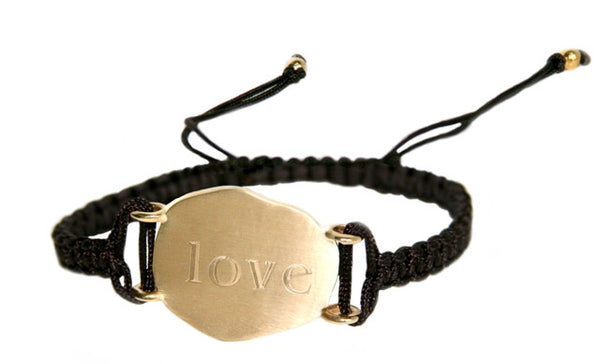 "Yellow Gold ""Love"" Bracelet with Braided Cord"