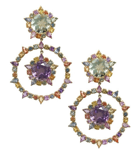 Multi-Colored Sapphire & Amethyst Earrings