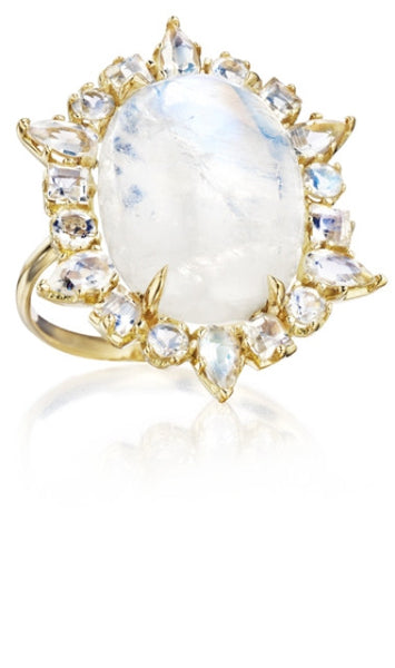 Rainbow Moonstone Ring