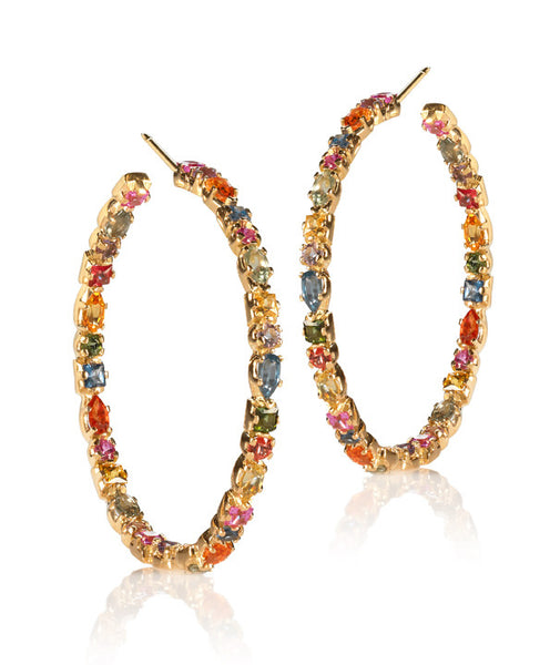 Multi-Colored Sapphire Hoop Earrings