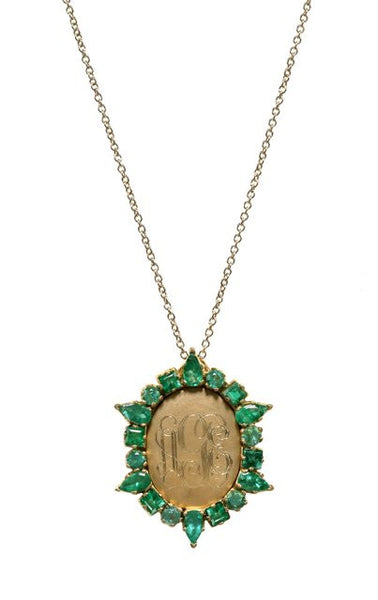Emerald & Yellow Gold Monogram Locket